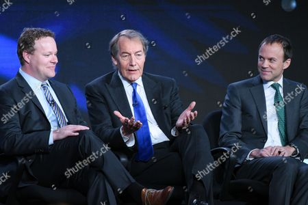 """Vice President of Programming, CBS News Chris Licht, from left, host Charlie Rose and President, CBS News, David Rhodes participate in the """"CBS This Morning"""" panel at the CBS 2016 Winter TCA, in Pasadena, Calif"""