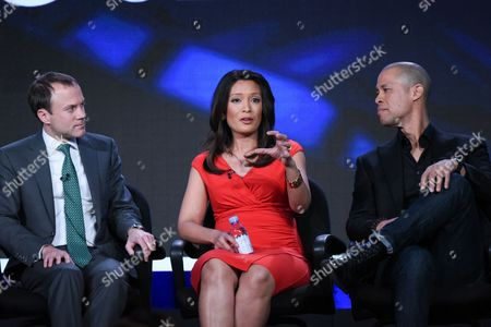 "President, CBS News, David Rhodes, from left, CBS News correspondents Elaine Quijano and Vladimir Duthiers participate in the ""CBSN"" panel at the CBS 2016 Winter TCA, in Pasadena, Calif"