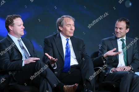 """Vice President of Programming, CBS News, Chris Licht, from left, host Charlie Rose and President CBS News, David Rhodes, participate in the """"CBS This Morning"""" panel at the CBS 2016 Winter TCA, in Pasadena, Calif"""