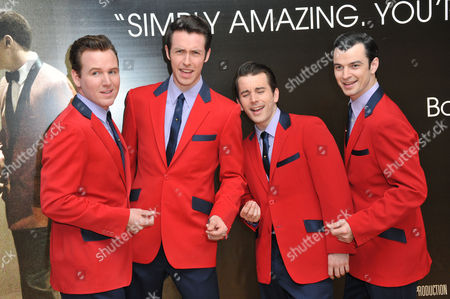 Cast of Jersey Boys west end cast, Michael Watson, Jon Boydon, Edd Post, Matt Nation attend the screening of Jersey Boys in London on