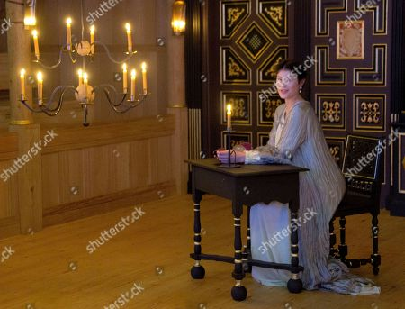 Stock Image of British actress Gemma Arterton, who plays the Duchess, performs a scene by candle light from The Duchess of Malfi at Shakespeare's Globe theatre in central London, . Directed by Dominic Dromgoole, the play is part of the Sam Wanamaker Playhouse season