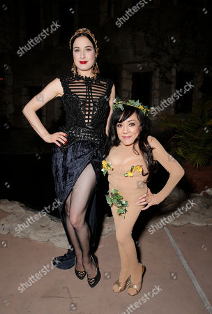 Dita Von Teese and Selene Luna of Strip Strip Hooray attend Dita Von Teese's Castle Birthday Bash at The Hollywood Castle on in Los Angeles