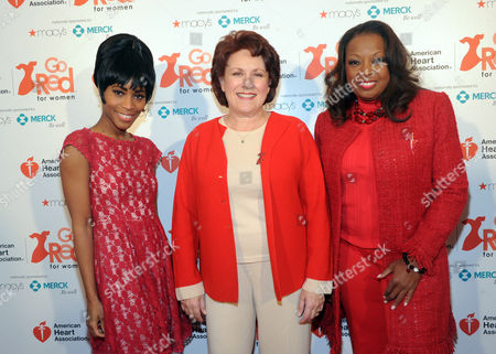 Actress Valisia LeKae, left, Tony Award-winning actress and singer Judy Kaye, center, and TV personality Star Jones, who is a heart disease survivor and American Heart Association National Volunteer, attends the event to celebrate the 10th National Wear Red Day with American Heart Association's Go Red For Women movement at Macy's Herald Square, in New York