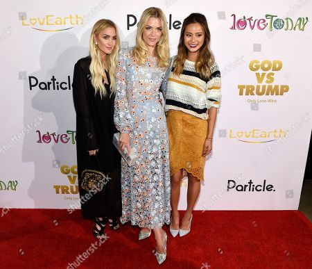 """Ashlee Simpson Ross, left, Jaime King, center, and Jamie Chung pose together at the premiere of the documentary film """"God vs. Trump: Only Love Wins,"""" at the TCL Chinese Theatre, in Los Angeles"""