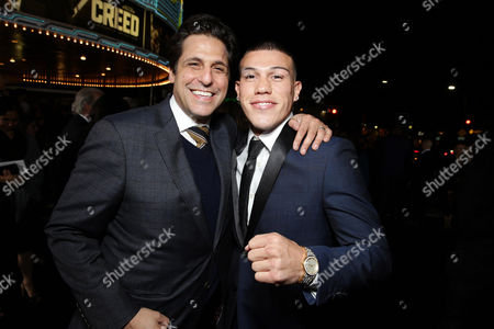 Jonathan Glickman, President of the Motion Picture Group for Metro-Goldwyn-Mayer Studios, and Gabriel Rosado seen at Los Angeles World Premiere of New Line Cinema's and Metro-Goldwyn-Mayer Pictures' 'Creed' at Regency Village Theater, in Westwood, CA