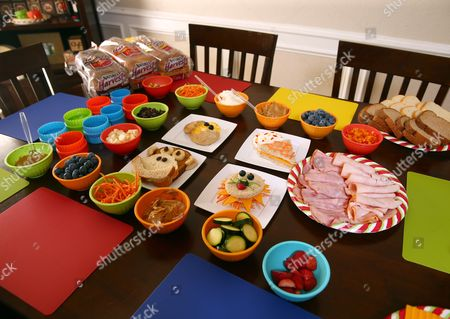 The demo area is prepped for sandwich art creations at Nature's Harvest bread's Kitchen Crash with Celebrity Chef Kelsey Nixon at the Tillotson residence, in Forney, TX