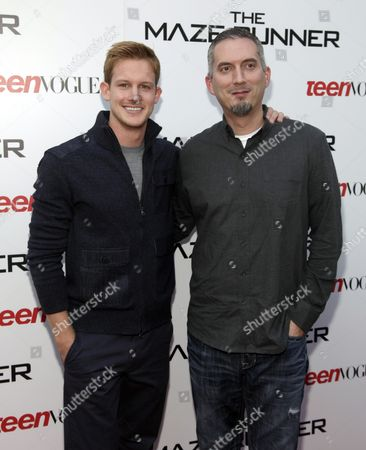 "Chris Sheffield, left, and James Dashner, right, attend a screening of ""The Maze Runner"" hosted by Twentieth Century Fox and Teen Vogue on in New York"