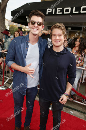 Stock Picture of Tyler Case and Michael Taber attend the Los Angeles premiere of Awesomeness Film's JANOSKIANS: UNTOLD AND UNTRUE at Bruin Theatre, in Los Angeles, CA