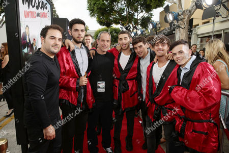 The Janoskians Manager Jeremy Skaller, James Yammouni, Awesomeness TV CEO Brian Robbins, Luke Brooks, Jai Brooks, Beau Brooks and Daniel Sahyounie attend the Los Angeles premiere of Awesomeness Film's JANOSKIANS: UNTOLD AND UNTRUE at Bruin Theatre, in Los Angeles, CA