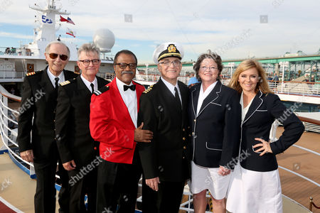 Louis Aguirre, Co-host of The Insider Left to right, Bernie Kopell, Fred Grandy, Ted Lange, Gavin MacLeod, Lauren Tewes and Jill Whelan join Princess Cruises to celebrate their 50th anniversary with the original cast of The Love Boat aboard Pacific Princess at the Port of Los Angeles on Thurs., in Los Angeles