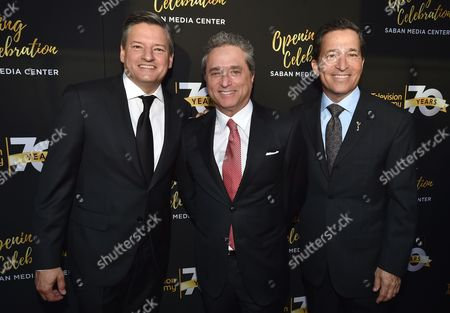 Ted Sarandos, CCO of Netflix, from left, Rick Rosen, Founding Member/Head of Television, WME, and Bruce Rosenblum, Television Academy Chairman and CEO, arrive at the Television Academy's 70th Anniversary Gala and Opening Celebration for its new Saban Media Center, in the NoHo Arts District in Los Angeles