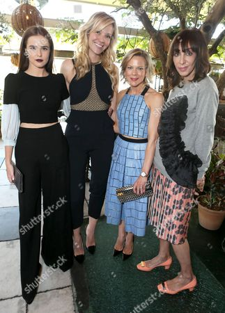 From left Zoey Deutch, Tara Swennen, Carol McColgin and Merle Ginsberg attend The Hollywood Reporter & Jimmy Choo Celebration of the Most Powerful Stylists in Hollywood,, in West Hollywood, Calif