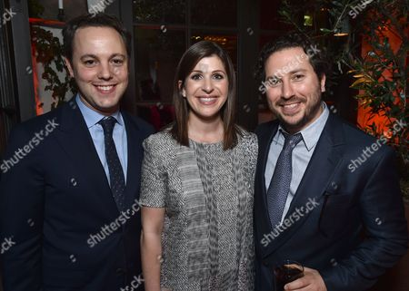 Ido Ostrowsky, from left, Nora Grossman, and Teddy Schwarzman attend The Hollywood Reporter Nominees Night presented by Cadillac, with Delta, Roberto Coin, and Neiman Marcus Beverly Hills at Spago on Mon., in Beverly Hills, Calif