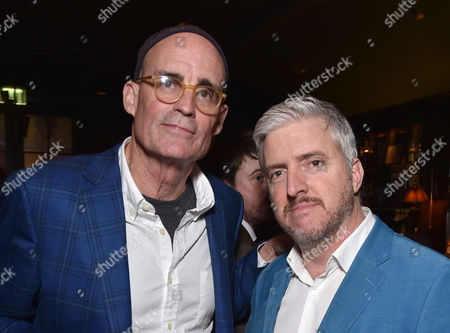 E. Max Frye, left, and Anthony McCarten attend The Hollywood Reporter Nominees Night presented by Cadillac, with Delta, Roberto Coin, and Neiman Marcus Beverly Hills at Spago on Mon., in Beverly Hills, Calif