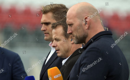 Broadcasters; (L to R) Toby Flood, Lawrence Dallaglio and Austin Healey