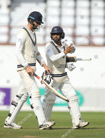 Steve Finn of Middlesex and Ravi Patel of Middlesex leave the field of player after loosing to Somerset during the 4th Day of the Division 1 Specsavers County Championship match between Somerset and Middlesex at The Cooper Associates County Ground, Taunton, England. 28th September 2017 (