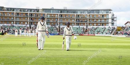 Stock Image of Steve Finn of Middlesex and Ravi Patel of Middlesex walk off after loosing to Somerset during the 4th Day of the Division 1 Specsavers County Championship match between Somerset and Middlesex at The Cooper Associates County Ground, Taunton, England. 28th September 2017 (