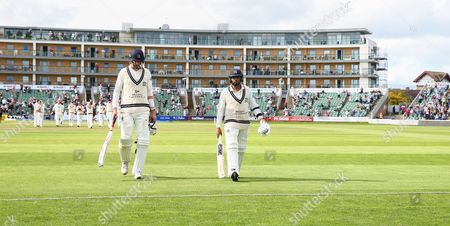 Stock Photo of Steve Finn of Middlesex and Ravi Patel of Middlesex walk off after loosing to Somerset during the 4th Day of the Division 1 Specsavers County Championship match between Somerset and Middlesex at The Cooper Associates County Ground, Taunton, England. 28th September 2017 (