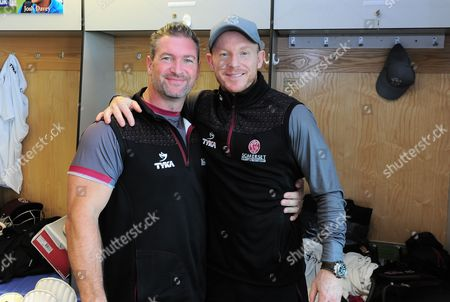 Daz Veness Strength and Conditioning Coach for Somerset poses for a photo with Somerset batting coach Chris Rogers during the 4th Day of the Division 1 Specsavers County Championship match between Somerset and Middlesex at The Cooper Associates County Ground, Taunton, England. 28th September 2017 (