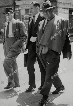 Major Arthur Meyer Sassoon (coat Over Shoulder) Arriving At Windsor Bankruptcy Court. He Is Married To Princess Murat (yvonne Murray The Film Actress). Box 734 424021744 A.jpg.