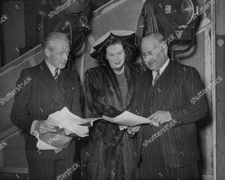Stock Picture of Princess Murat (yvonne Murray The Film Actress) Pictured With Maj. Leslie Cardew (left) And Major Arthur Meyer Sassoon. Box 734 42402176 A.jpg.
