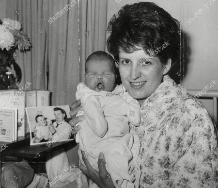 Mrs Margaret Byrne Wife Of West Ham United F.c. Footballer John Byrne With Their 6-day-old Baby Daughter Karen. Box 737 210031749 A.jpg.