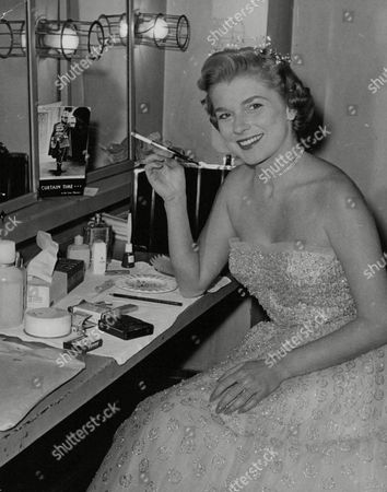 Actress Louise Collins Widow Of Racing Driver Peter Collins In Her Dressing Room. Box 738 314031725 A.jpg.