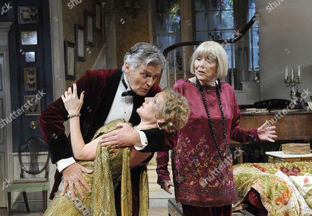 'Hay Fever' - Simon Williams (David), Caroline Langrishe (Myra) and Diana Rigg (Judith)