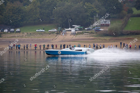 Sir Malcolm Campbell's world water speed record-breaking hydroplane Bluebird K3 takes to the water once more with a test run at Bewl Water on the Kent and Sussesx border.
