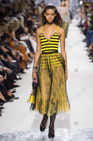 Stock Picture of Alyssa Traore on the catwalk