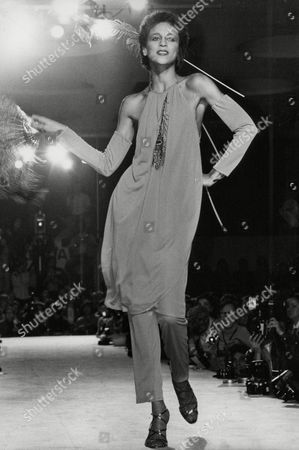 Model Alva Chinn On The Catwalk Wearing Silk Jersey Dress And Pants Suit By Krizia At 1979 Milan Fashion Show. Box 745 507041748 A.jpg.