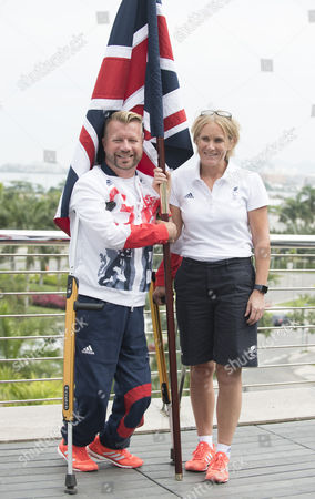 Lee Pearson Cbe. Paralympic Equestrian Lee Pearson Cbe Is Selected To Fly The Flag For Paralympicsgb As Rio 2016 Prepares For The Opening Ceremony. He Is Pictured Here With Penny Briscoe Paralympics Gb Chef De Mission. See Story.