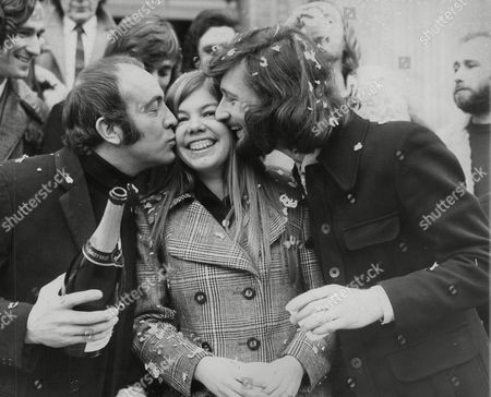 Collette Deremaux Receives A Kiss From Her New Husband Assistant Film Director Martyn Chillman And Actor Ian Hendry (left) After Her Wedding At Marylebone Register Office. Box 745 907041717 A.jpg.