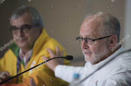 Stock Photo of Sir Philip Craven Mbe President Of The International Paralympic Committee Speaks At A Press Conference In Rio In Advance Of The Opening Ceremony Beside Him Is Mario Andrada Communications Executive Director Rio 2016 See Martha Kelner/david Williams Story Rio Paralympics  7916