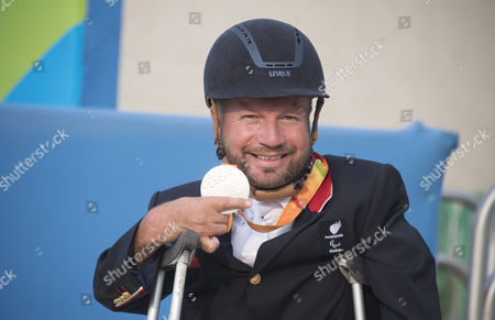 Editorial photo of Lee Pearson. British Paralympian Equestrian Lee Pearson Who Carried The Flag In The Paralympic Opening Ceremony Pictured With His Silver Medal Won In The Individual Championship Test On His Horse Zion.