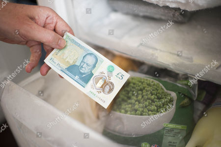 The New £5 Note. Harry Mount With The New Indestructible Plastic Five Pound Note Released Into Circulation 13th September 2016. Harry Tries Various Methods To Destroy It Including A Dishwasher Oven Washing Machine Iron Crumpling Folding Sofa Squash Food Staining And Burning To Road Test The New Addition To The Stirling Family. Pictured Shows:- Harry Pulling The Note From The Freezer.