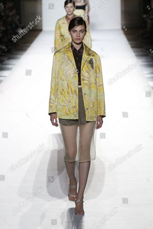 Stock Image of Milena Litvinovskaya on the catwalk