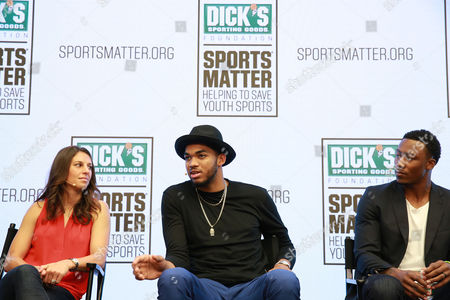 Carli Lloyd, Karl-Anthony Towns and Brandon Marshall discuss the importance of youth sports funding at the DICK's Sporting Goods Sports Matter panel at NASDAQ MarketSite on in New York
