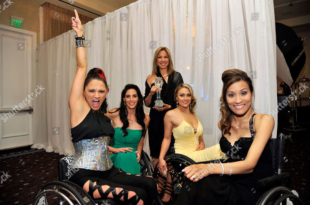 "From left, Angela Rockwood, Mia Schaikewitz, Gay Rosenthal, Tiphany Adams, and Auti Angel pose backstage with their award for best reality series for ""Push Girls"" at the Critics' Choice Television Awards in the Beverly Hilton Hotel, in Beverly Hills, Calif"