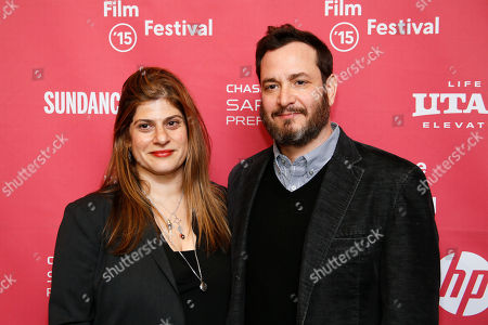 "Writers and directors Shari Springer Berman, left, and Robert Pulcini, right, pose at the premiere of ""Ten Thousand Saints"" during the 2015 Sundance Film Festival, in Park City, Utah"