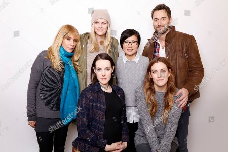 """Rosanna Arquette, standing from left, Brooklyn Decker, director So-Yong Kim, Ryan Eggold, and seated from left, Jena Malone and Riley Keough pose for a portrait to promote the film, """"Lovesong"""", at the Toyota Mirai Music Lodge during the Sundance Film Festival on in Park City, Utah"""
