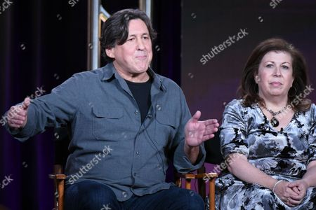 "Executive producer/writer/director Cameron Crowe, left, and executive producer Winnie Holzman participate in the ""Roadies"" panel at the Showtime 2016 Winter TCA, in Pasadena, Calif"