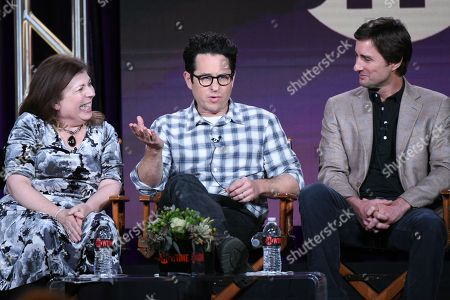 "Executive producers Winnie Holzman, from left, J.J. Abrams and actor Luke Wilson participate in the ""Roadies"" panel at the Showtime 2016 Winter TCA, in Pasadena, Calif"