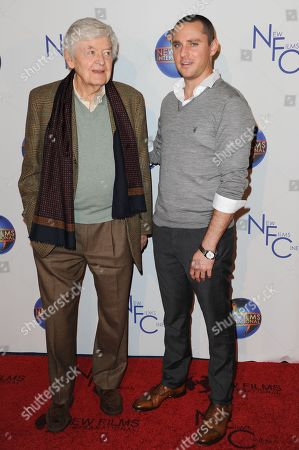 "Stock Image of Hal Holbrook, left, and Derek Magyar attend the premiere of ""Flying Lessons"" at the Laemmle Monica 4-Plex, in Santa Monica, Calif"