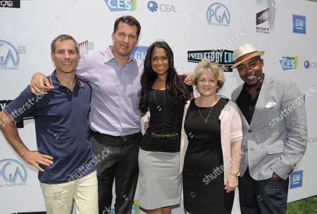 L-R) Barry Mendel, Scott Stuber, PBC Co-ChairTracey Edmonds, Bonnie Arnold and Will Packer attend the Produced by Conference on in Culver City, Calif