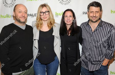 Photo of, from left, Dave Finkel, Elizabeth Meriwether, Katherine Pope and Brett Baer courtesy of Samsung Galaxy, taken during the Paley Center for Media's PaleyFest, honoring New Girl at the Saban Theatre, in Los Angeles, California