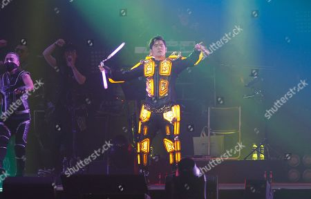"""Famed Taiwanese singer Jay Chou performs during his concert """"The Invincible"""" in Taipei, Taiwan"""