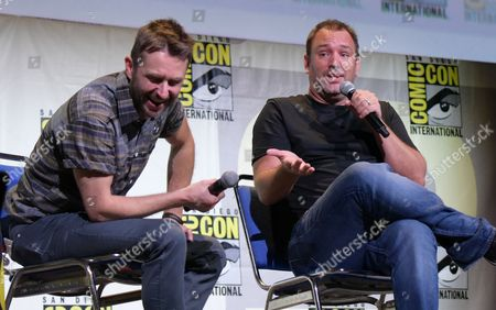 "Chris Hardwick, left, and Trey Parker attend the ""South Park"" panel on day 2 of Comic-Con International, in San Diego"