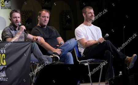 "Chris Hardwick, from left, Trey Parker and Matt Stone attend the ""South Park"" panel on day 2 of Comic-Con International, in San Diego"