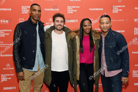"""Richard Tanne, second from left, writer/director of """"Southside With You,"""" poses with cast members Parker Sawyers, far left, and Tika Sumpter, third from left, and executive producer John Legend at the premiere of the film at the 2016 Sundance Film Festival, in Park City, Utah"""